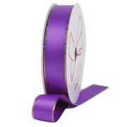 Purple and gold metallic edge satin ribbon