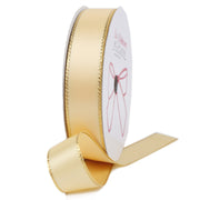Chamois and gold metallic edge satin ribbon