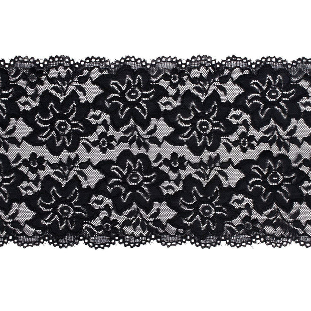 "6"" Floral Stretch Lace Black"