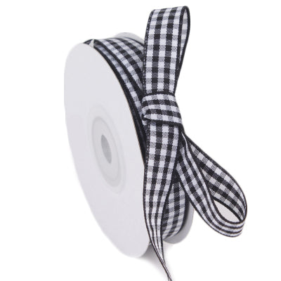15 millimeter black and white gingham ribbon