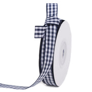 Blue gingham ribbon spool
