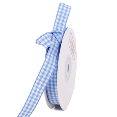 13 millimeter blue gingham printed ribbon