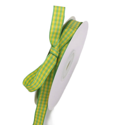Green and yellow gingham ribbon