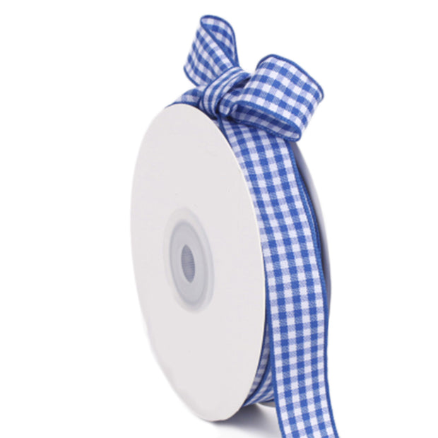 15 millimeter blue and white gingham ribbon