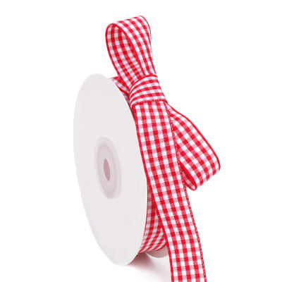 15 millimeter red and white gingham ribbon