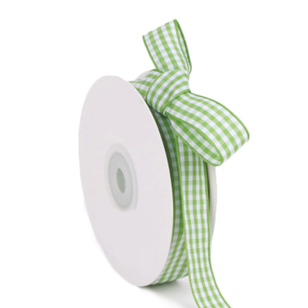 15 millimeter green and white gingham ribbon