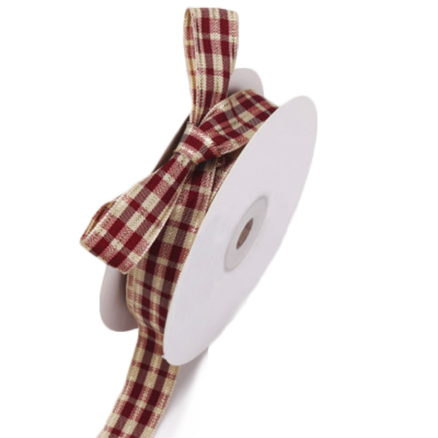 15 millimeter wine red and cream color tartan style ribbon