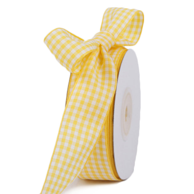 13 millimeter yellow gingham printed ribbon
