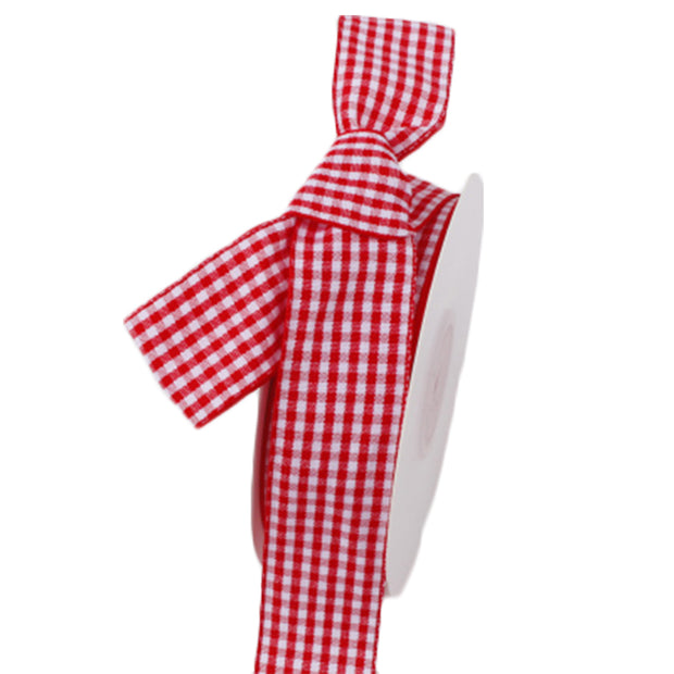 25 millimeter red and white gingham printed ribbon