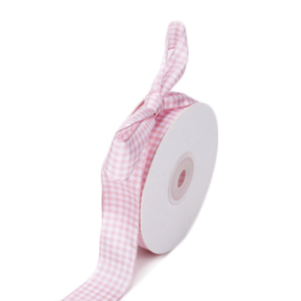 25 millimeter pink and white gingham ribbon