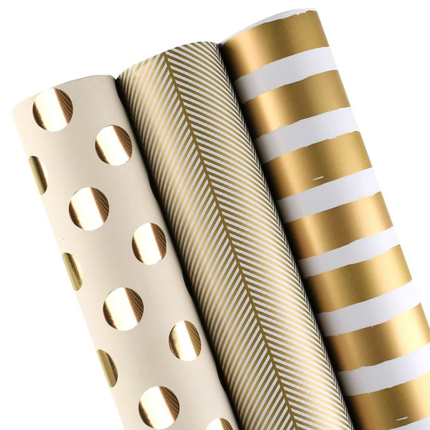 White and gold geometric wrapping paper three roll pack