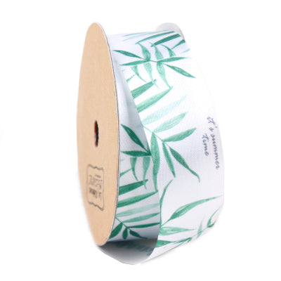 25 millimeter green and white bamboo printed satin ribbon