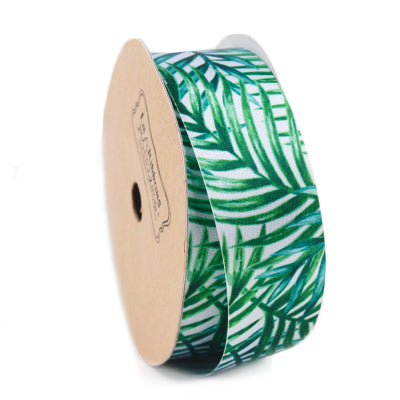 25mm Green/White Palm Tree Printed Single Face Satin Ribbon