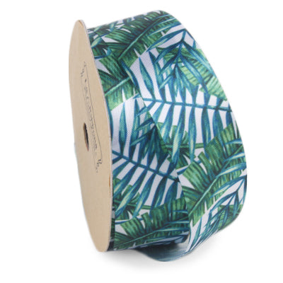 25 millimeter green and white banana leaf printed satin ribbon