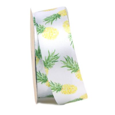 25 millimeter white satin pineapple printed ribbon