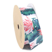 25 millimeter white and pink floral printed satin ribbon