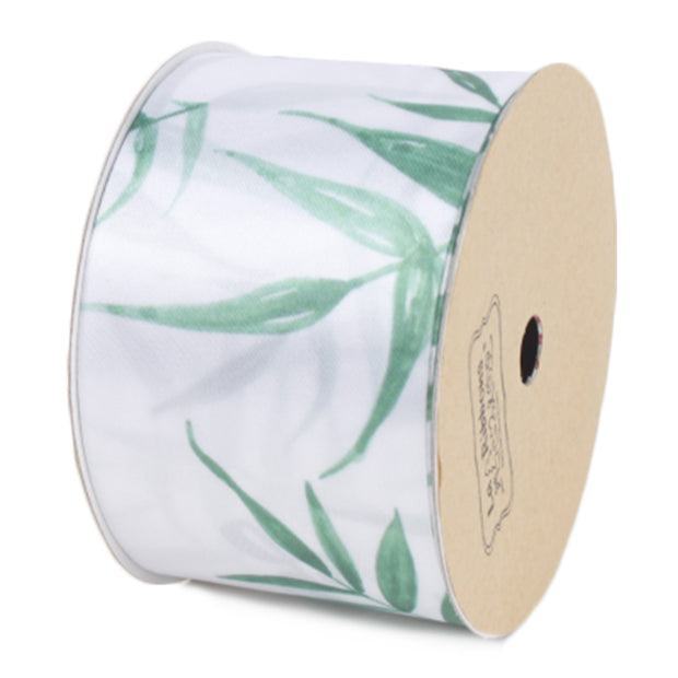 50 millimeter white and green bamboo printed satin ribbon