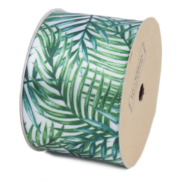 50 millimeter White/Green Palm Tree Satin Ribbon