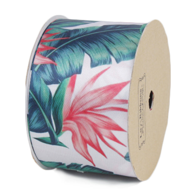 50 millimeter white and pink floral printed satin ribbon