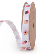 White satin cupcake printed ribbon
