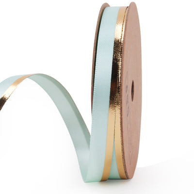 9 millimeter aqua and gold metallic stripe printed satin ribbon
