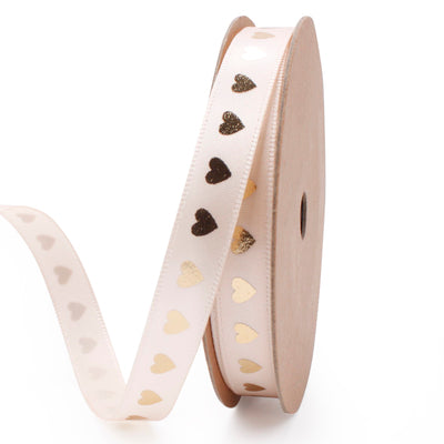 9 millimeter beige and gold metallic heart printed satin ribbon