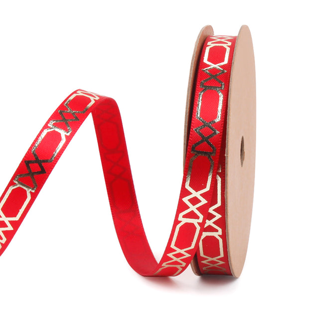 9 millimeter red and gold geometric printed satin ribbon