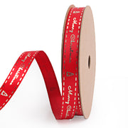9 millimeter red and gold Christmas text printed satin ribbon