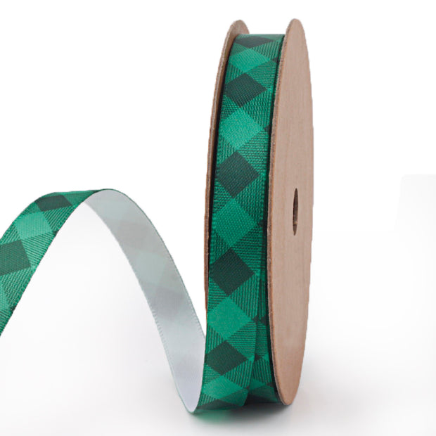9 millimeter green and black plaid printed satin ribbon