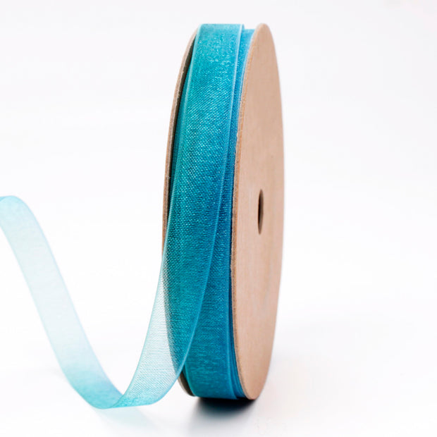 9 millimeter green and turquoise organza ribbon