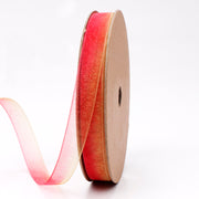 9 millimeter red and orange watercolor style organza ribbon
