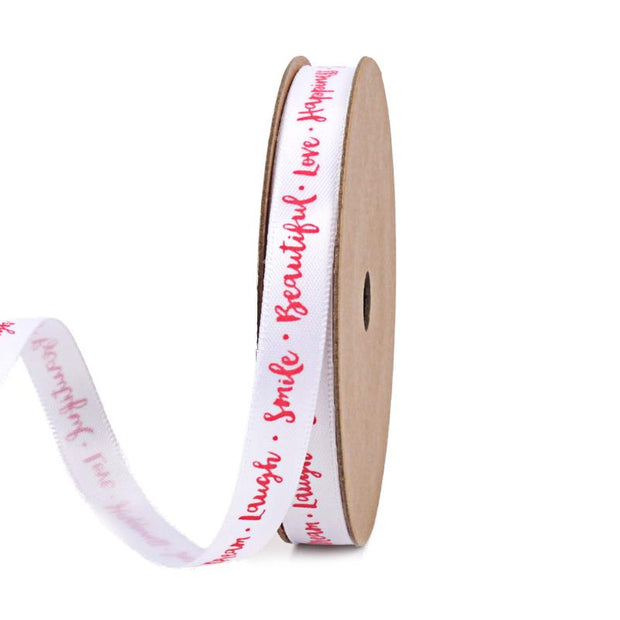 9 millimeter white and pink text printed satin ribbon