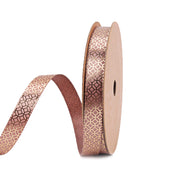 9 millimeter taupe and gold color metallic geometric printed satin ribbon