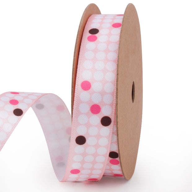 Pink Polka Dot Satin Ribbon
