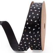 Black Satin Ribbon with White/Silver Geometric Shapes