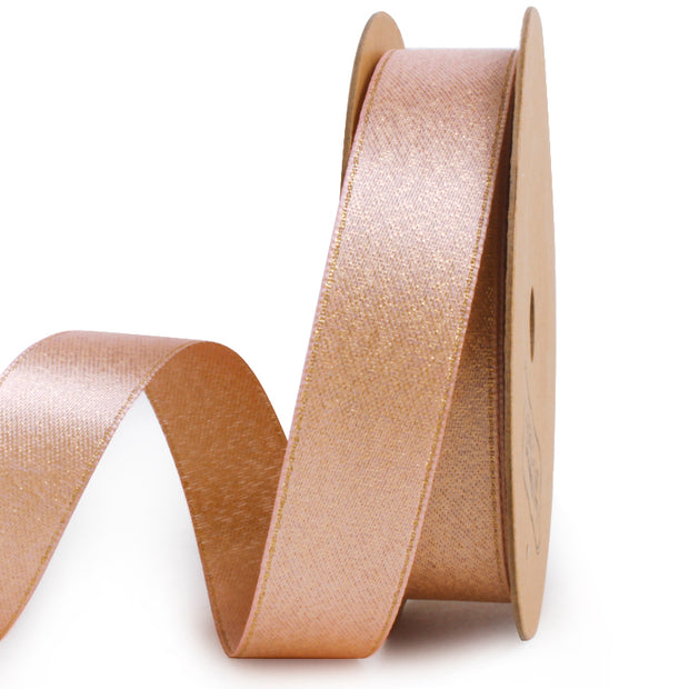 Nude and gold metallic sparkle glitter ribbon