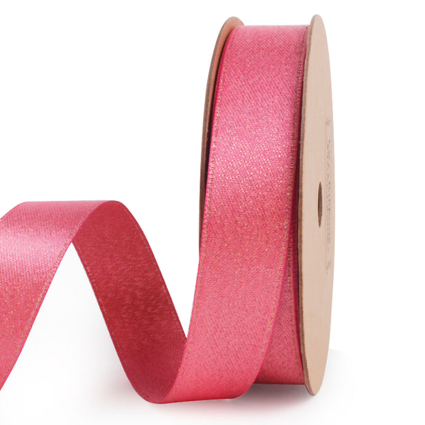 Light pink and gold metallic sparkle glitter ribbon