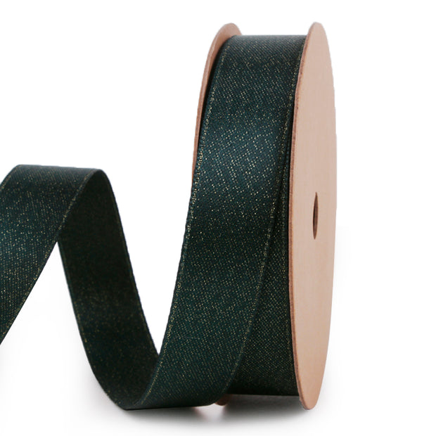 Dark green and gold metallic sparkle glitter ribbon