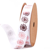 16mm White/Rose Gold Metallic Flower Printed Ribbon