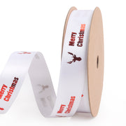 White satin Christmas theme ribbon printed with red text