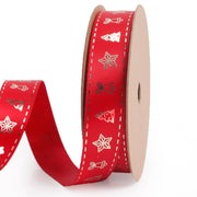 Red Satin Ribbon with Gold printed designs