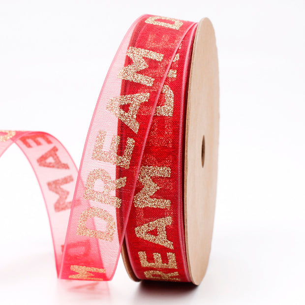 Red Glitter Organza Ribbon with glitter gold text