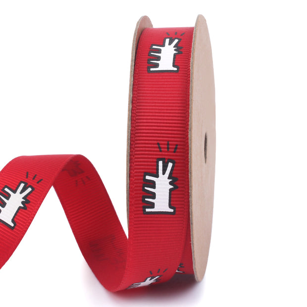 Red graffiti style printed grosgrain ribbon with white, abstract dogs printed