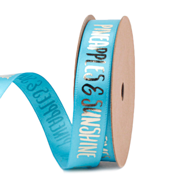 Teal blue satin ribbon printed with gold text