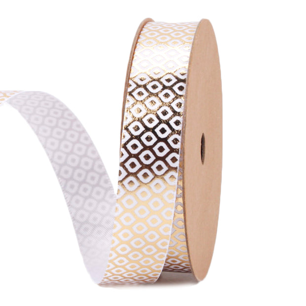 16 millimeter white and gold metallic geometric printed ribbon