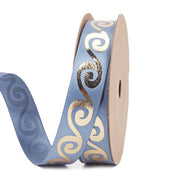 Blue Satin Ribbon with Metallic Gold swirls