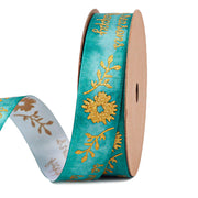 19 millimeter jade green and gold satin glitter floral print ribbon
