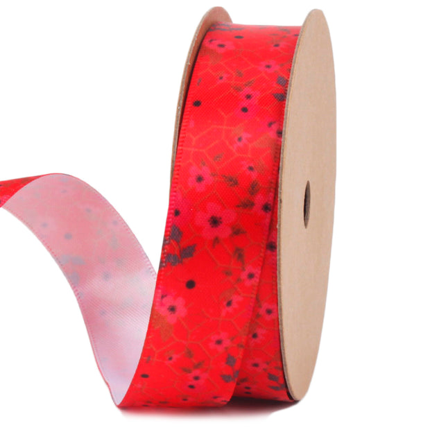 19 millimeter red floral printed satin ribbon