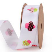 25 millimeter white satin ribbon printed with mini cupcakes
