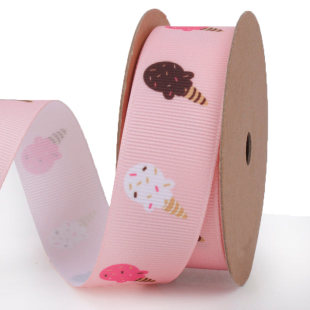 25 millimeter pink grosgrain ribbon printed with mini ice cream cones